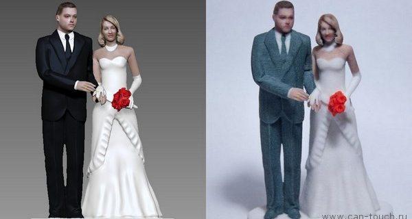 Свадебная фигурка с лицами молодоженов