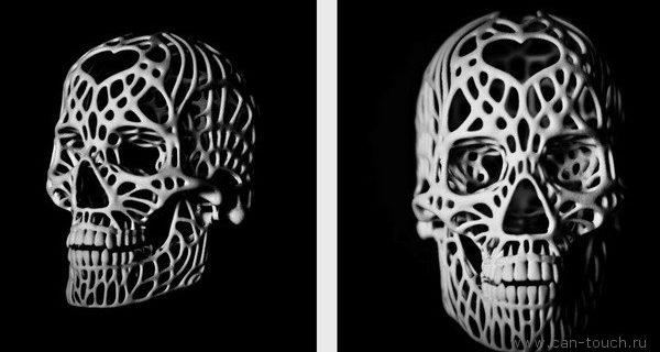 Кружевной череп, напечатанный на 3D-принтере
